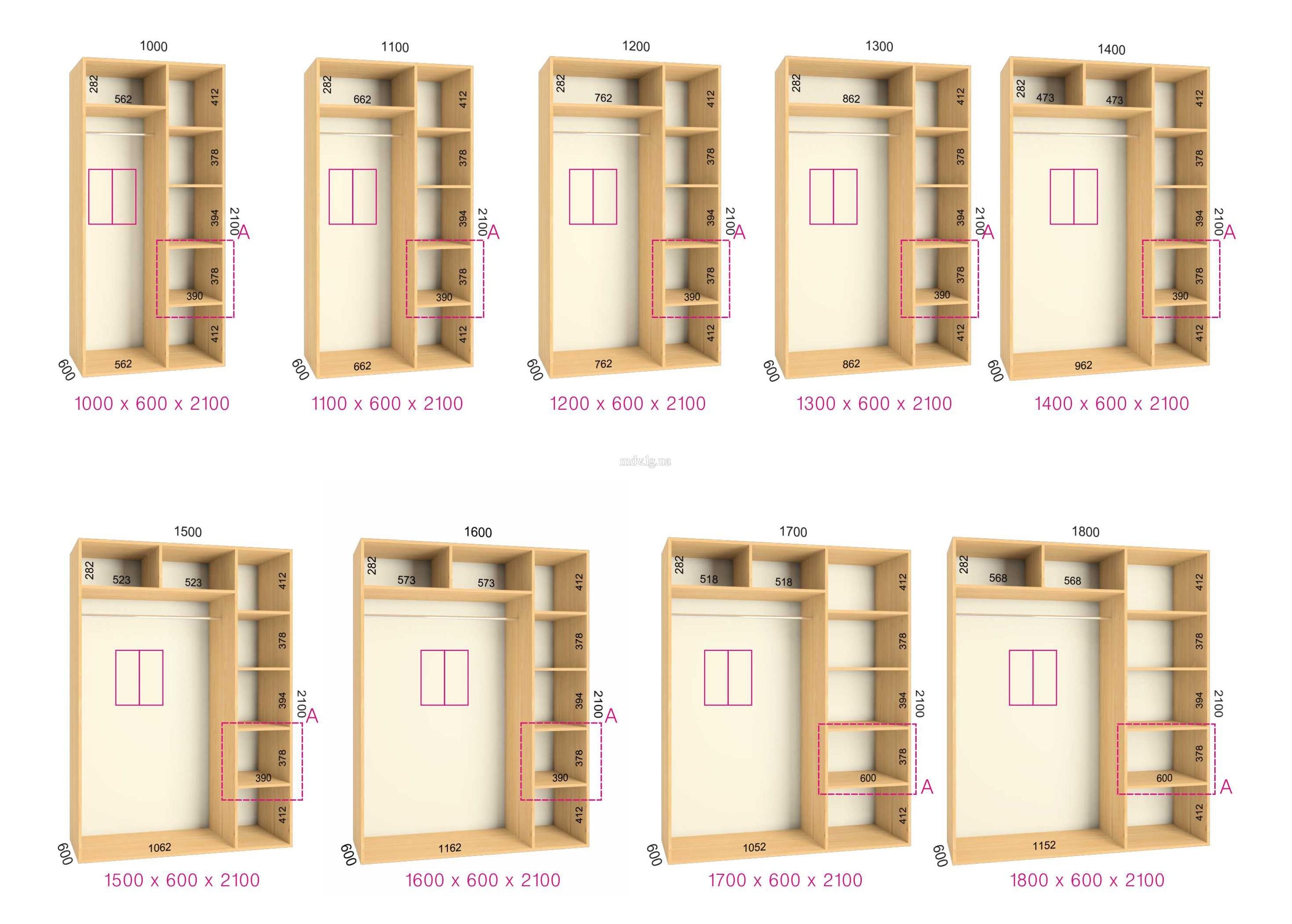 Внутреннее наполнение шкафа для одежды распашного ш150 г 60 в 22.